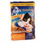 Консервированный корм для кошек Felix Sensation - с курицей и морковью в желе 100г
